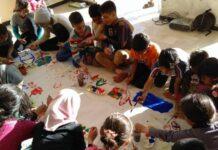 προσφυγοπούλα- ζωγραφική -χαρτονι