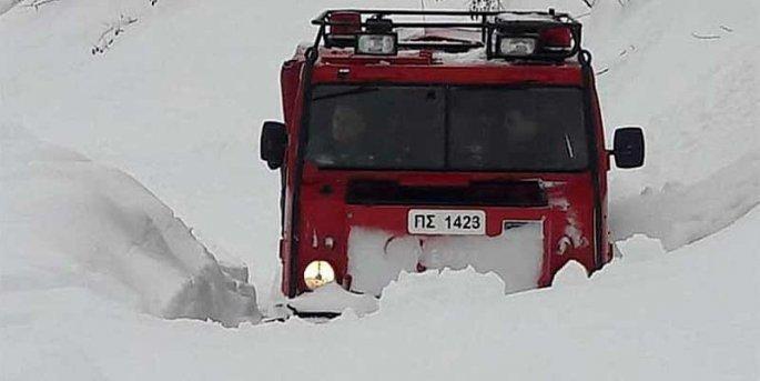 πυροσβεστικο οχημα χιονισμενο