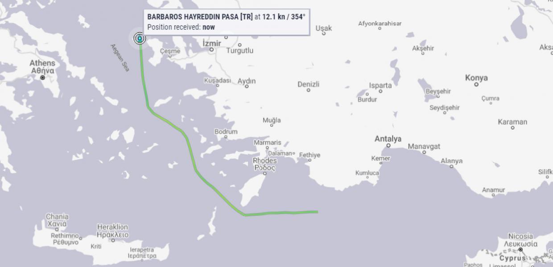 Το Barbaros πιο κοντά από 6 ν.μ. σε Χίο-Ψαρά