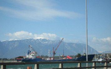 φορτηγό πλοίο στο λιμάνι στυλίδας